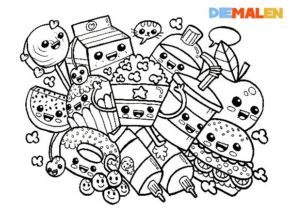 ausmalbilder essen  fastfood  kawaii → diemalen