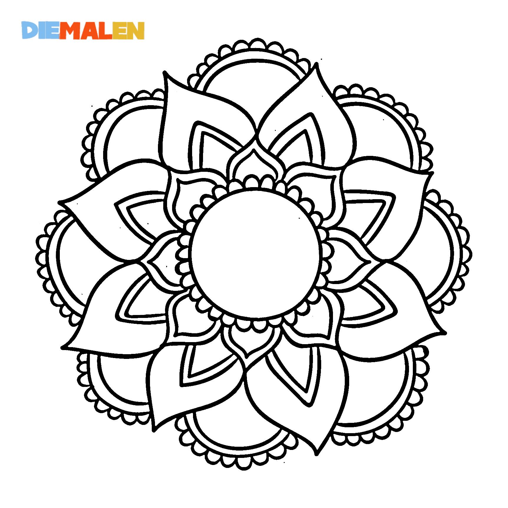 Mandala Ausmalbilder – Entspannung – Erwachsene → DieMalen.com